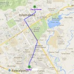 Ruite Map from Liaqat Bagh Rawalpindi to Press Club Islamabad
