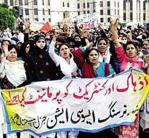 Contractual nurses protest and dharna for second day