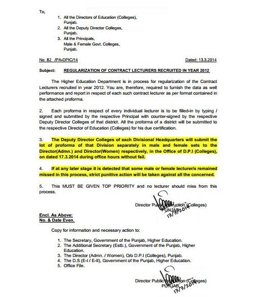 Punjab Colleges Lecturers Regularization Notification