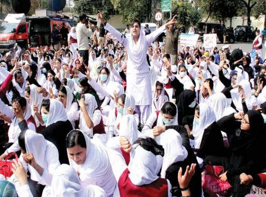 Young Nurses Association Protest at Lahore Press Club