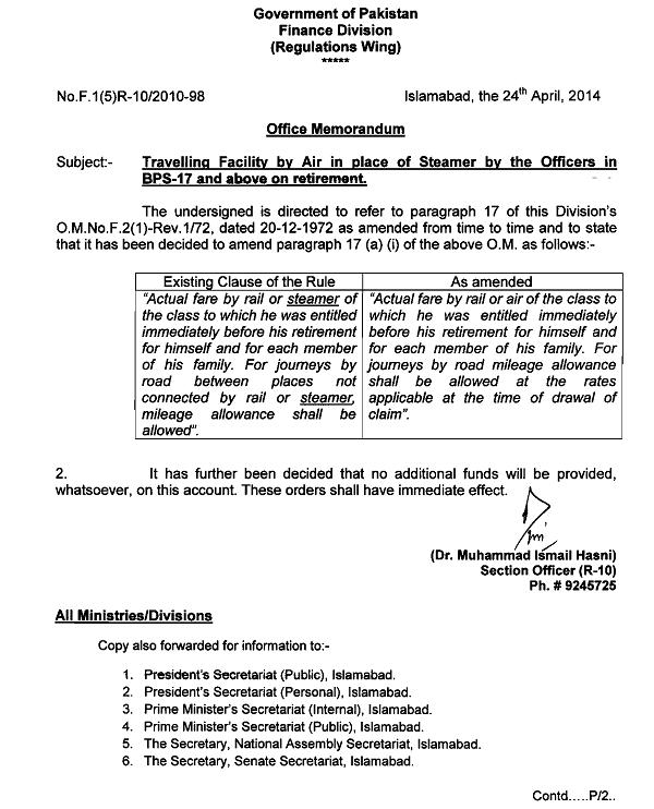 Revised Notification of Traveling Facility Allowance By Air, Rail and Road on Retirement  dated 24/4/2014