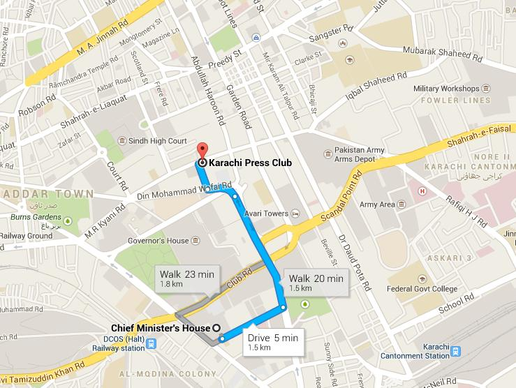 Route Map Karachi Press Club to Sindh Chief Minister House (1.5 Kilometers)
