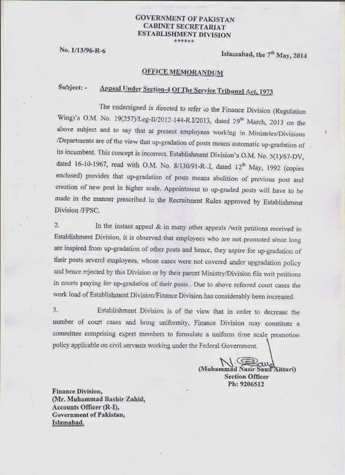 Establishment division memorandum dated May 7, 2014