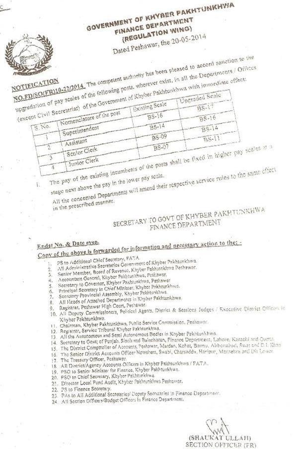 Clerks Pay Scales Upgradation Notification 2014