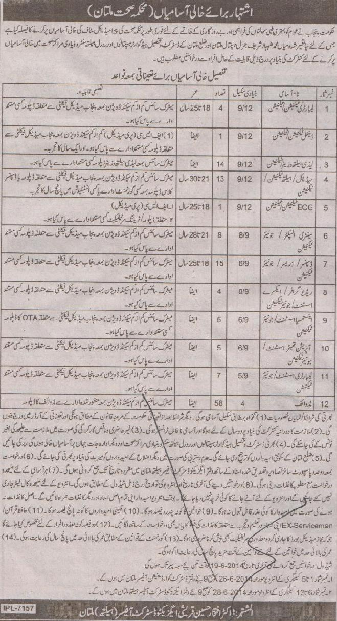 Jobs in Shahbaz Sharif General Hospital Multan