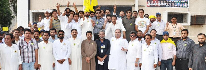 Kaleem Kalasra President Air League With PIA workers after Wining election
