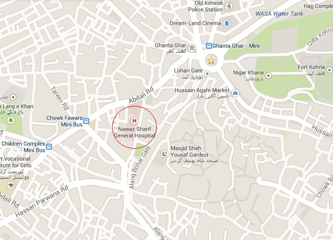 Location Map Shahbaz Sharif General Hospital Multan