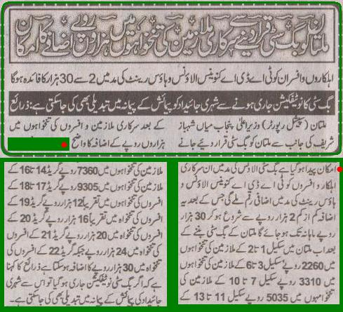 Multan Big City Allowance Benefits to Govt Employees