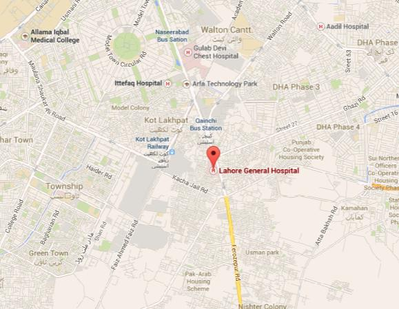 General Hospital Lahore Location Map