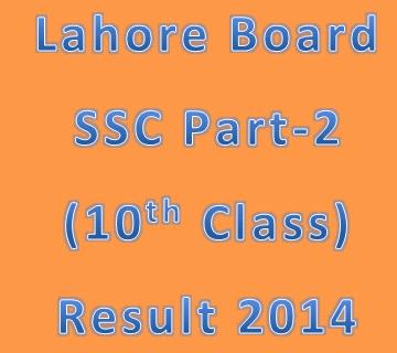BISE Lahore Board Matric/SSC (10th Class) Result 2014