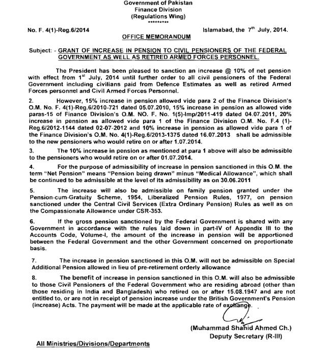 Pension Increase Notification of Federal Govt Retired Employees ...