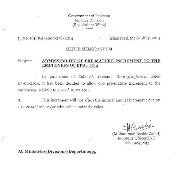 Premature Increment to Employees of BPS Grade 1 to 4