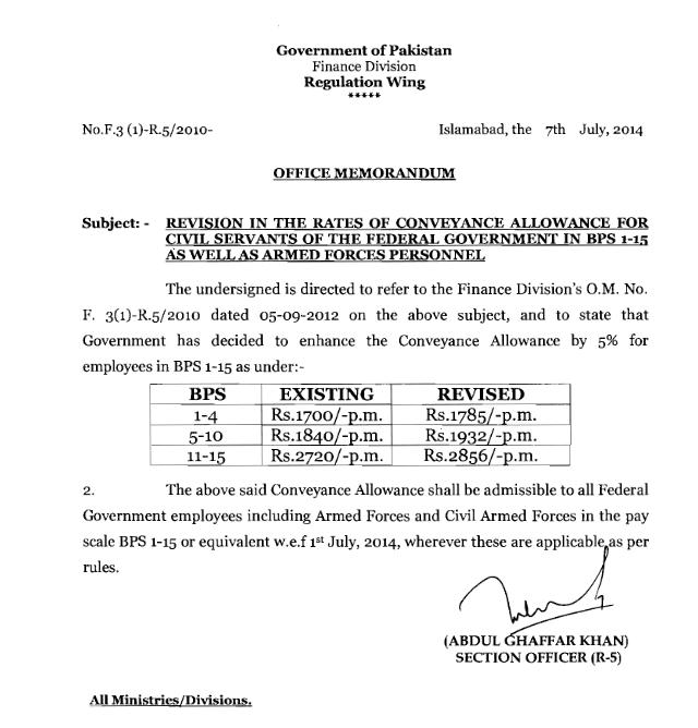 Revised Conveyance Allowance Notification for Civil and Armed Personals 2014
