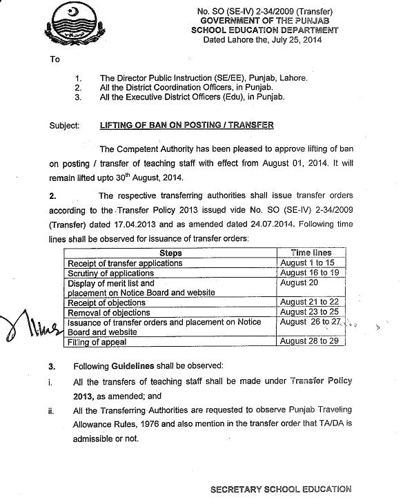 Punjab Notification of ban lifting on transfer posting 2014