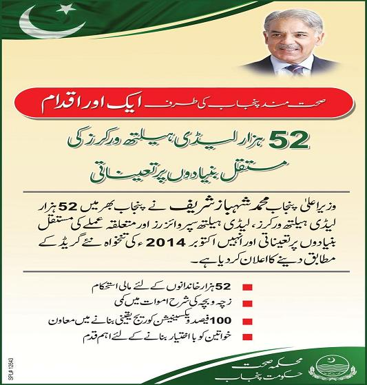 Shahbaz Sharif Regularized 52000 Lady Health Workers (LHW)