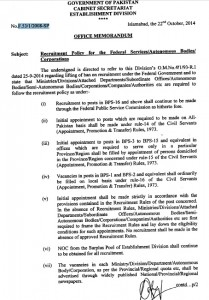 Federal Government Issued Recruitment Policy  for its Departments and Corporations 1