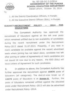 School Educators Recruitment Policy in Punjab