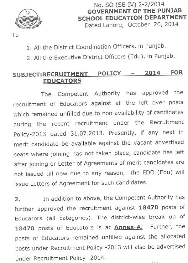 School Educators Recruitment Policy in Punjab
