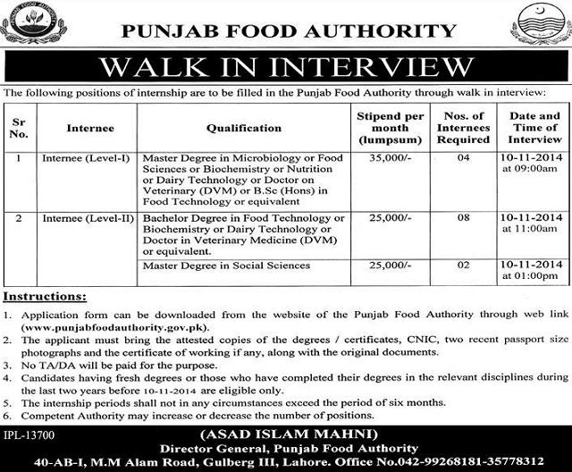 Walk in Interview in Punjab Food Authority Lahore