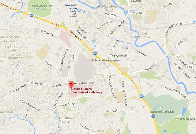 Location Map Armed Forces Institute of Pathology (AFIP) Rawalpindi