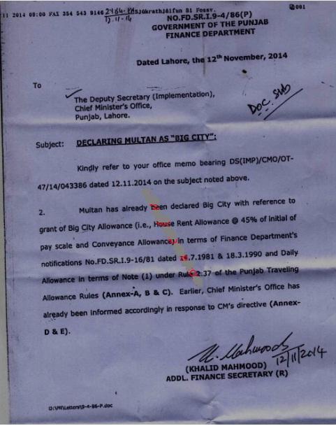 Notification of Multan Big City Allowance dated 12 November 2014