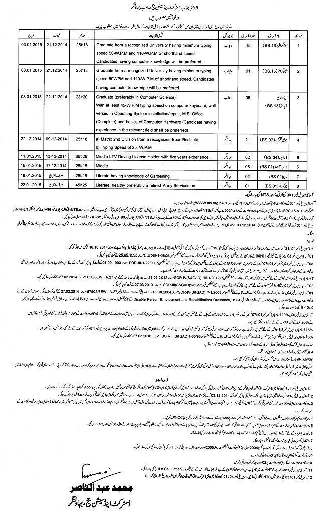Jobs/Vacancies in District and Session Court Bahawalnagar