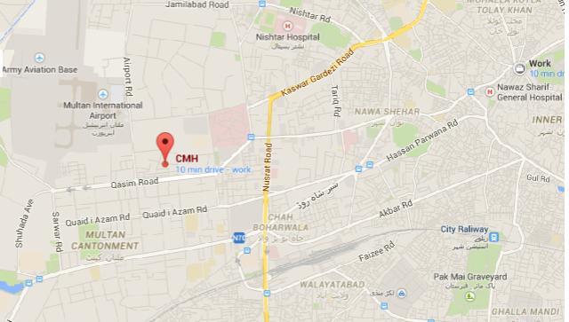 CMH Multan Location Map, Airport, railway Station, Nishtar Hospital, Nawaz Sharif