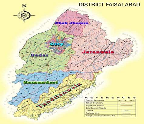Faisalabad District and Tehsils Map, City Saddar, Chak Jhumra, Samundari, Tandianwala, Jaranwala
