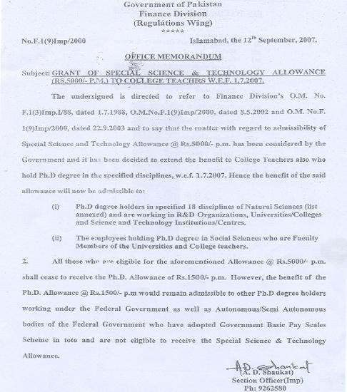 Grant of Special Science Technology Allowance to College Teachers dated 12-9-2007