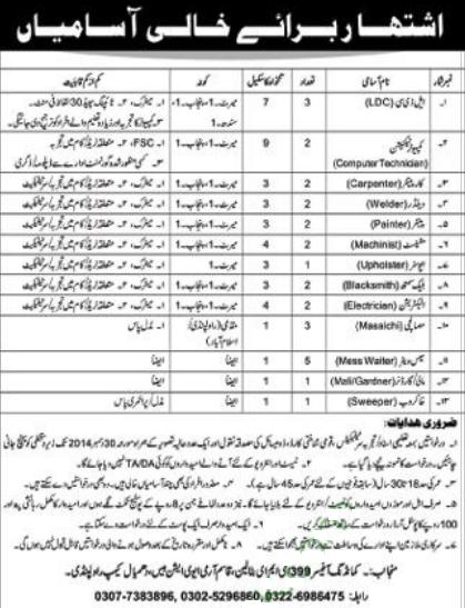 Jobs in 399 EME Battalion Qasim Army Aviation Base Rawalpindi