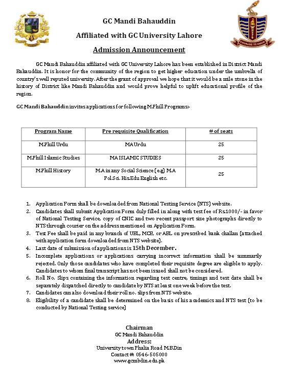 M.Phill Admission in GC Mandi Bahauddin through NTS