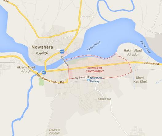 Map Nowshera Cantonment-City Khyber Pakhtunkhwa