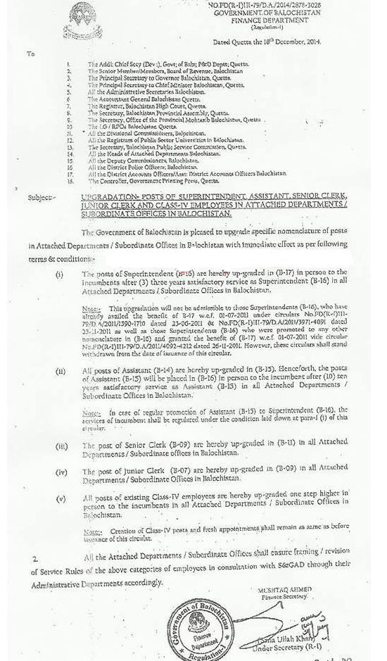 Notification of Balochistan Govt for Upgradation of Clerical Staff and Class IV Employees 18-12-2014