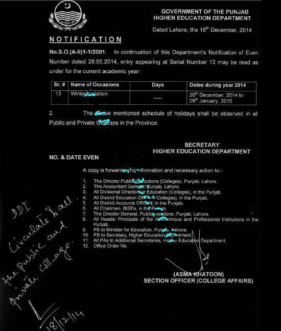 Punjab Higher Education Department Notification of Winter Holidays-Vacations 2014 in Colleges