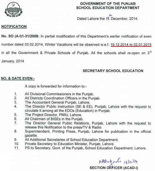 Punjab Winter Holidays Notification 2014 (Updated Revised) Dated 18-12-2014