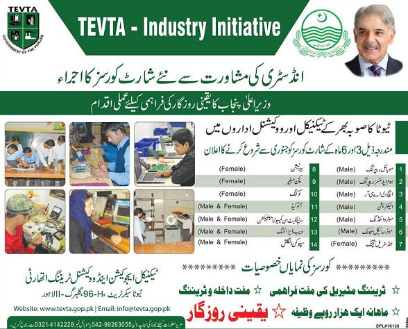 TEVTA Free Short Courses – 9140 Trainees Got Admission