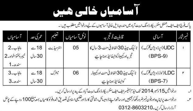 Vacancies in Pak Fauj Abbottabad