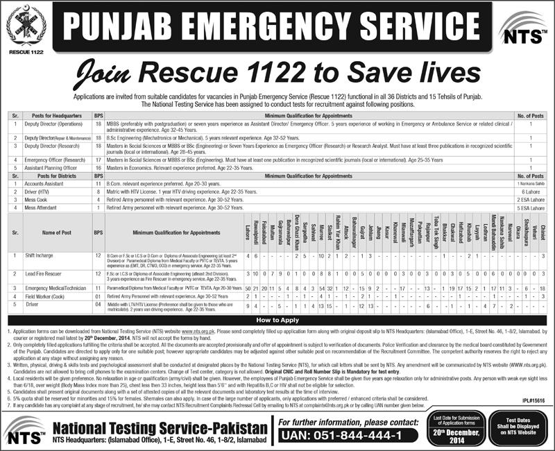Jobs in Rescue 1122 Punjab Emergency Service Through NTS