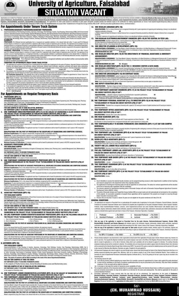 Vacancies in University of Agriculture Faisalabad dated 19-12-2014