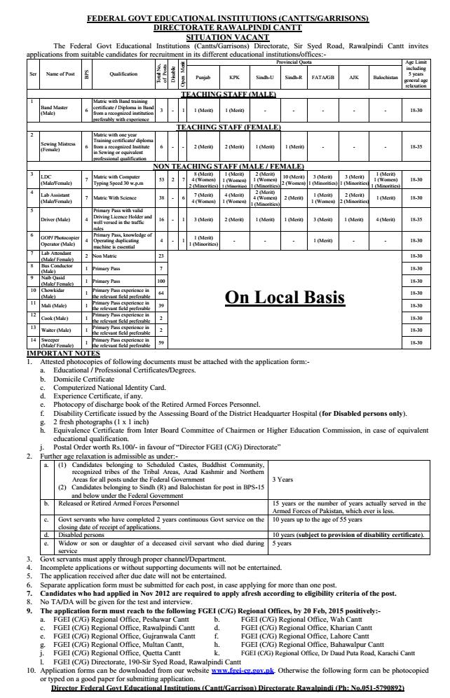 FGEI DTE Rawalpindi Teaching and Non-Teaching Staff Jobs