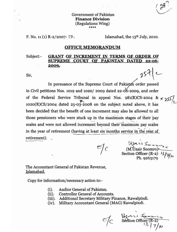 Finance Division Notification on Grant of Increment on Order of Supreme Court dated 13-07-2010