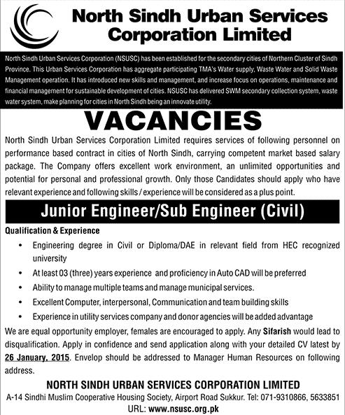 Jobs in North Sindh Urban Services Corporation (NSUSC) - Junior Engineer-Sub Engineer