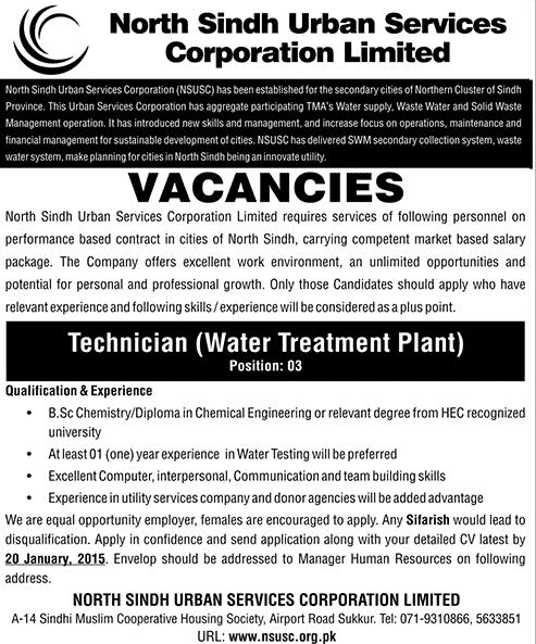 Jobs in North Sindh Urban Services Corporation (NSUSC) -  Technician (Water Treatment Plant)
