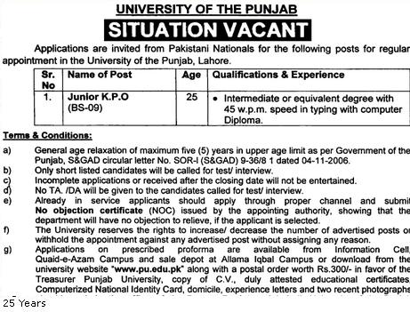 Junior KPO Jobs in Punjab University Lahore