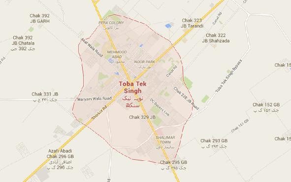 Map Toba Tek Singh City and Villages/Chakook