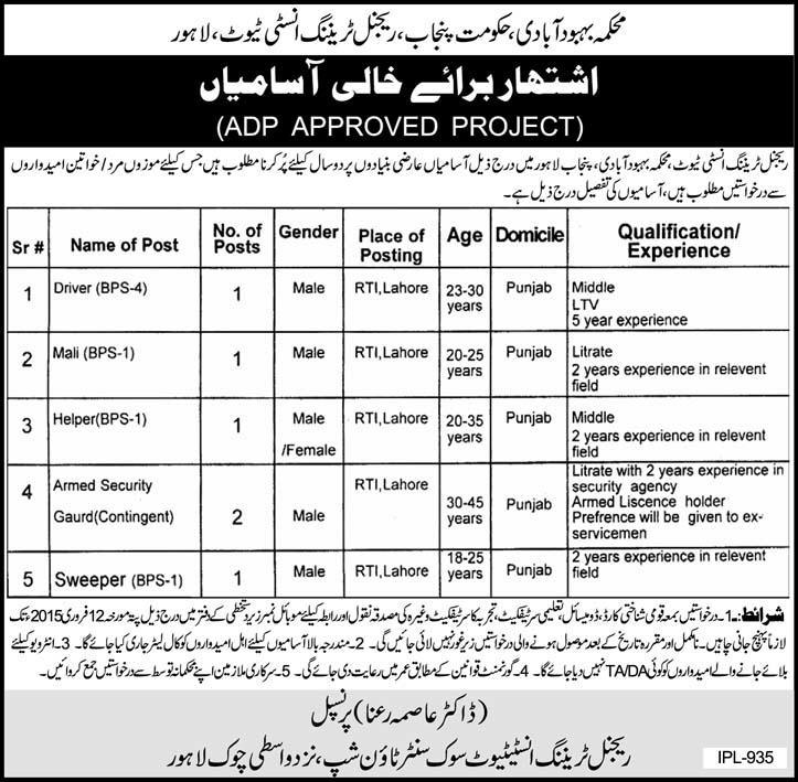 Population Welfare Department – Regional Training Institute Lahore