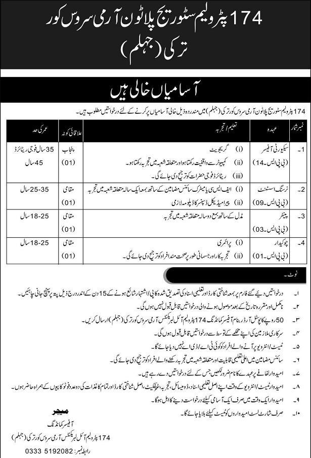 Jobs in 174 Petroleum Storage Platoon Army Service Core Turkey Jhelum