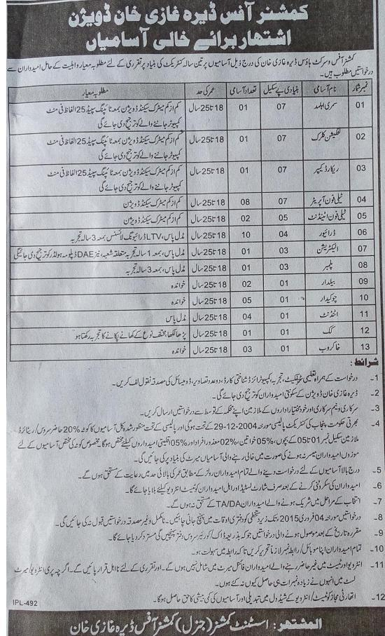 Vacancies in Commissioner Office DG Khan Division