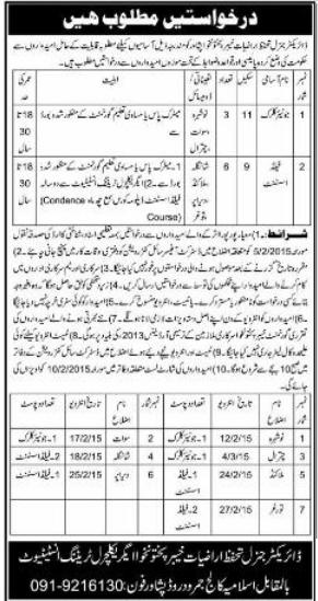Vacancies in DG Lands Protection KPK Agriculture Training Institute Peshawar