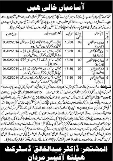 Jobs in Health Department District Mardan
